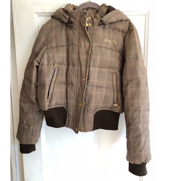 95a97b1d3 Sean John Brown Tan Check Plaid Puffer Down Jacket